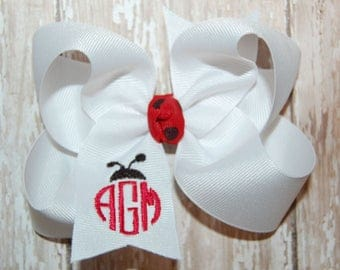 Ladybug Monogram Bow - Custom Monogrammed Bow ~ Baby Headband - Custom Embroidered Bow - Personalized Bow - Your Choice of Over 99 Colors