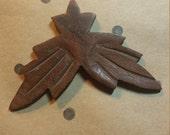 Vintage Pressed/Carved  Wood Leaves Embellishment