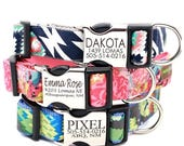 SALE Personalized Lazer Engraved Metal Buckle Dog Collar - 20 Classic Cotton styles to choose from