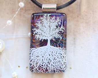 Tree of Life Necklace, Dichroic Glass Pendant, Necklace, Fused Glass Jewelry, Necklace Included, A13