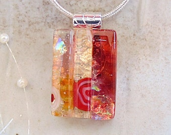 Amber Necklace, Orange, Red, Dichroic Glass Pendant, Petite, Fused Glass Jewelry, One of a Kind, Murrini, Necklace Included, A13
