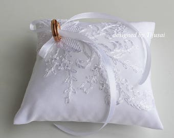 Reserved-RWedding ring bearer pillow with white embroidered lace aplique-ring holder, ring cushion, ready to ship