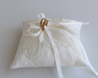 Ivory Wedding ring bearer pillow with embroiderings-ring cushion, ring holder, ready to ship