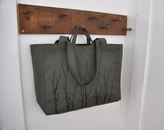Pussy Willows - Weekender Bag - Zipper Closure Tote in Smokey Grey Green