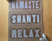 Yoga Art Namaste Peace Relaxation Pack, shanti and relax signs, palo santo, white sage bundle, yoga studio decor, relaxation kit yoga gift