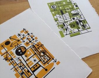 JAZZ Kings Pair of mid century modern style letterpress prints by JD King Hand Printed set
