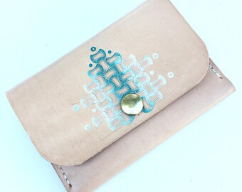Leather Pocket Wallet with Turquoise Bone Pattern