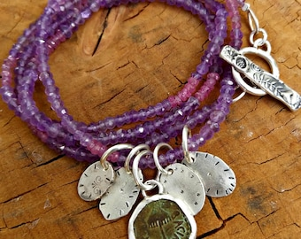 Ancient Greek  Coin charm Bracelet, Amethyst and sapphire strand wrap Bracelet, interchangeable necklace and bracelet , ancient coin jewelry