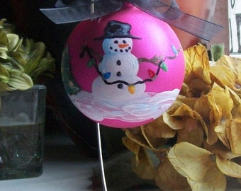 Christmas Ornament - Hand Painted Snowman with Top Hat and String Lights - Glitter - Holiday - Hanukkah