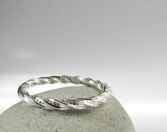Sterling Silver twist band ring, slim stack ring