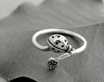 Ladybug ring, Sterling Silver, adjustable, flower, Ladybug jewelry, Nature inspired