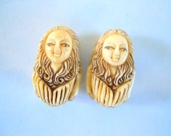 Pair Carved Bone Mermaid Beads #2