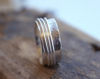 Sterling Spinner Ring  Silver Handmade Fiddle Ring SR113
