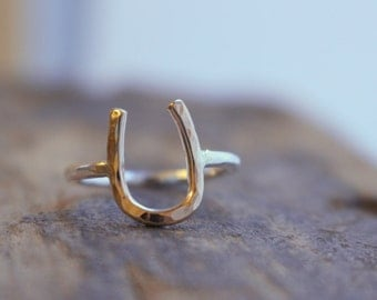 Silver Gold Horseshoe Ring - Equestrian Jewelry, Silver Gold Ring