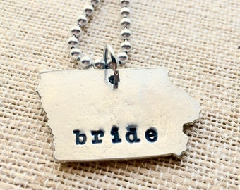 Iowa Bride Jewelry - Iowa Bride Necklace - Iowa Wedding - Iowa Girl Jewelry - Iowa Girl Bride - Iowa Engagement - Iowa bridal