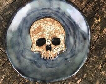 Skull Spoon Rest in Cloudy Blue