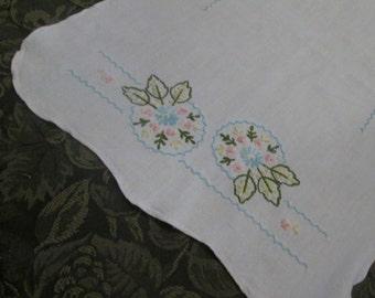 Vintage Embroidered Cotton Dresser Scarf - Pink Green Aqua Floral