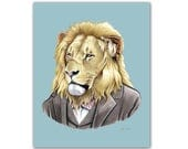Lion art print - Animal art - Nursery art - Nursery decor - Animals in Clothes - Children's art - Ryan Berkley Illustration 8x10
