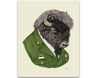 Bison art print by Ryan Berkley 8x10