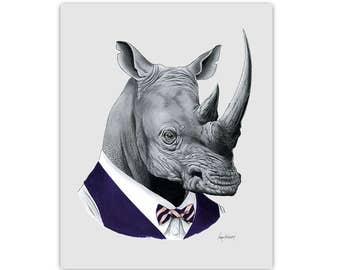 Rhino art print - Rhinoceros - Modern kid art - Animals in Clothes - Animal Art - Modern Decor - Ryan Berkley Illustration 5x7