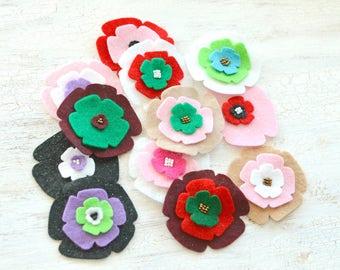 Die cut flowers, felt flower appliques, felt fabric flowers, felt appliques, flower patches, embellishments (12pcs)- GRAB BAG FLOWERS(set 7)