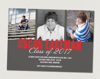 Graduation announcement and graduation open house invitation - printable graduation photo card for class of 2017 - custom colors