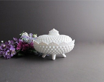 Vintage Milk Glass Hobnail Dish, Covered Dish, Footed Dish, Wedding Candy Dish