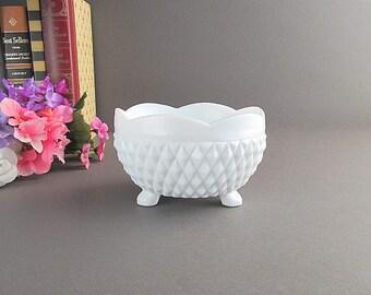 Vintage Milk Glass Bowl, Footed Bowl, English Hobnails, Candy Dish, Wedding Candy Buffet Bowl, Wedding Bowl, Bridal Shower Decor