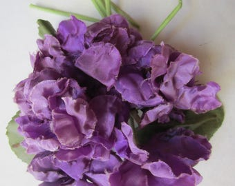 Nosegay 6 Purple  Silk Violets Vintage 1950s Flowers Millinery Hat Trims Wired Cloth Tubes Leaves