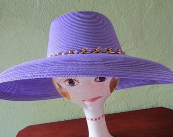 Packable Eric Javits Purple Wide Brim Hat Signed Sun Derby Church Easter Gold Chain