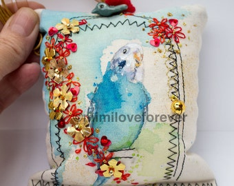 Quirky Keepsake Decoration.  Unique Bird Decoration. Budgie Art. Unusual Ornament for Home. Handmade.