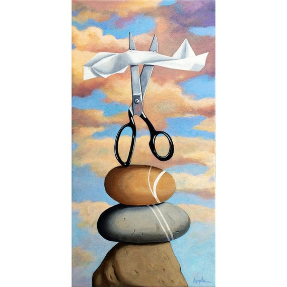 Rock,Paper,Scissors imaginative realistic still life sky clouds humourous Original painting