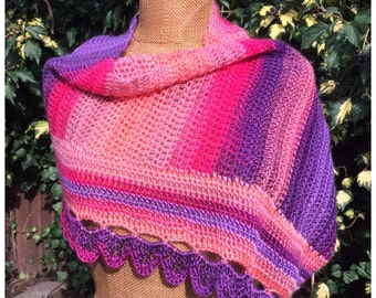 Crochet infinity scarf, cowl Anis, pink, purple, orange, long cowl, capelet, neckwarmer