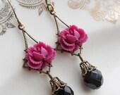 75% Off Price Sale- Magenta Noir Rose Earrings