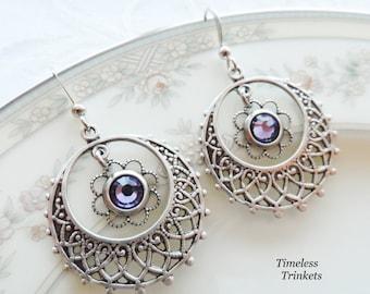 1/2 price sale - Tanzanite Swarovski Crystal and Silver Ox Filigree Earrings