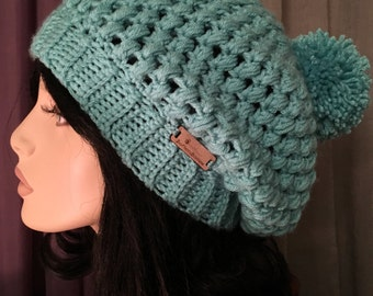 Bubble Hat CHOOSE COLOR Slouchy Crochet Hat Womens Hat Crochet Accessories Hat Womens Slouchy Tam Beret Crochet Hat