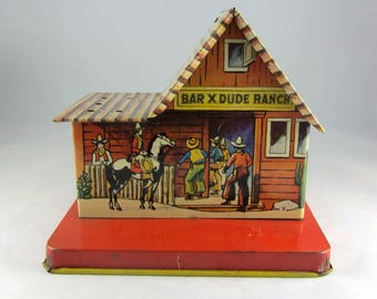 Vintage Tin-Litho BAR X DUDE RANCH Bank by U.S. Metal Toy Mfg. 1940's  Metal Toy Collectible