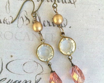 Romantic vintage style crystal teardrop earrings, wedding earrings. Tiedupmemories