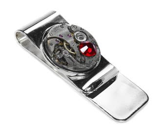Steampunk Money Clip Vintage ROUND Watch Silver Mens MONEY Clip Red Crystal Wedding Anniversary Fathers Day Groom - Jewelry by edmdesigns