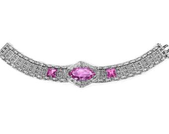 Antique Art Deco Silver Filigree Rhodium Bracelet, HUGE Pink Marquise Cut Glass Stones, Circa 1920s, Wedding Bridal Jewelry - by edmdesigns