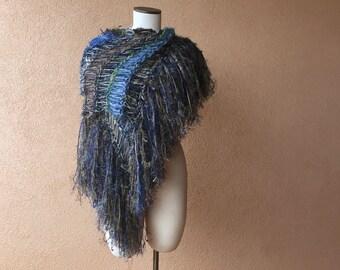 Earth Mother Knit Shawl Shoulder Wrap Wide Scarf Long Scarf Blue, Green, Grey, Beige Fringe Scarf Shawl Large Scarf