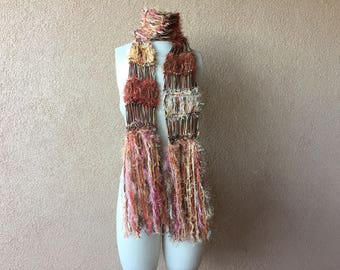 Fall Colors Cotton and Bamboo Scarf with Other Fibers and Sparkle in Brown, Peach, Cream, Yellow, Burnt Orange, Coral