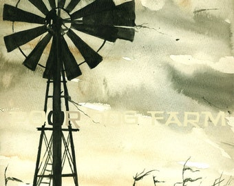 October Winds - watercolor print