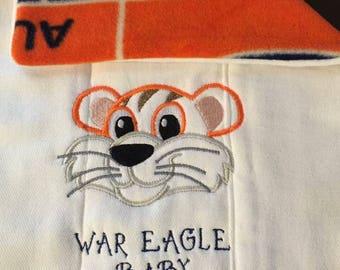 Flannel Back Baby Burp Cloth Tiger Shower Gift