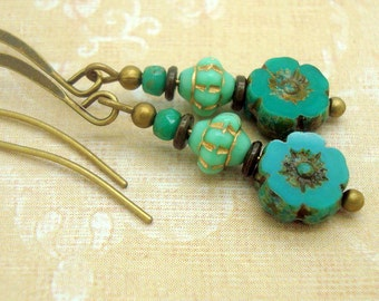 Zen Stacked Earrings in Boho Style in Mint Green and Turquoise Blue Glass