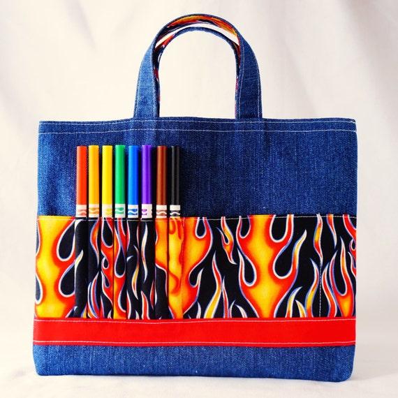 Coloring Tote Crayon Bag Ring Bearer Gift Crayon Tote READY to SHIP ARTOTE in HotShot