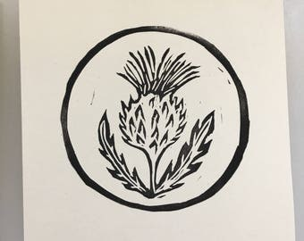 Linocut Print - Scottish Thistle - Outlander - 5.5 Inch Square