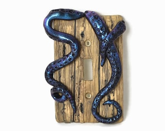 Tentacle Switch Cover, Octopus Switch Plate, Steampunk Switch Plate, Light Switch Plate, Tentacle Art, Light Switch Cover, Octopus Art