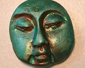 clay face OOAK blue patinaHandmade   woman mask  faces    jewelry craft supplies  handmade   face polymer scalloped