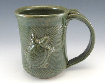 Pottery Turtle Mug/Pottery Turtle Cup 14-16 Ounces